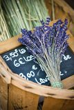 Flowers of lavender in the wicker basket Stock Photography