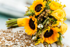 Flowers laying on a rock. Stock Photo