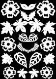 Flowers and leafs pattern. Paper cutting. Royalty Free Stock Images