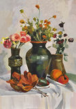 Flowers and leaves. Autumn still life with vases, flowers and dry leaves. Oil on canvas by Veronika Surovtseva Royalty Free Stock Images