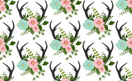 Flowers, leaves, antlers seamless pattern vector Stock Image