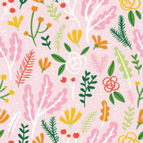 Flowers, leaves and berries seamless pattern on pink background vector illustration