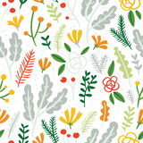 Flowers, leaves and berries seamless pattern on white background Royalty Free Stock Photo
