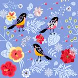 Flowers, leaves, berries, snowflakes and birds on light blue background. Beautiful seamless pattern in vector. Christmas print.  stock illustration