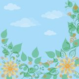 Flowers, leaves and blue sky. Flowers and leaves on a on a background of blue sky Royalty Free Stock Images