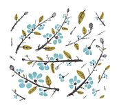 Flowers and Leaves Branches for Decoration Set Stock Photo