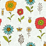 Flowers, leaves and bugs vector seamless pattern. Spring and summer floral colorful background Stock Image