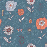 Flowers, leaves and bugs vector seamless pattern. Spring and summer floral pale grey background Royalty Free Stock Photo