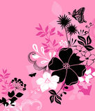 Flowers, Leaves, and Butterfly Illustration Vector. On Pink Background- Part of the my Daydream Garden Coordinating Design Series Royalty Free Stock Photos