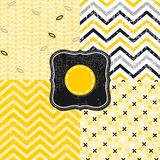 Flowers leaves and chevron black white yellow gray Stock Photos