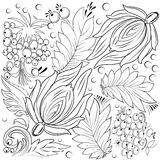 Flowers and leaves for colouring book. Flowers and leaves in autumn tematics for colouring book royalty free illustration