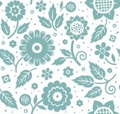 The flowers and leaves, decorative background, seamless, blue and white, vector. Stock Photo