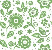 The flowers and leaves, decorative background, seamless, green and white, vector. Royalty Free Stock Images