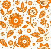 The flowers and leaves, decorative background, seamless, white-orange, vector. Stock Images
