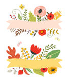 Flowers and leaves, floral elements, ribbon with place for your text. Royalty Free Stock Photos