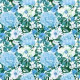Flowers, leaves, wild grass. Repeating floral pattern in blue color. Watercolor. Flowers, leaves, grass. Repeating floral pattern in blue color Watercolor royalty free illustration
