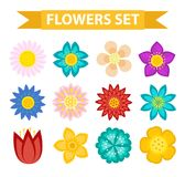 Flowers and leaves icon set, flat style. Floral collection isolated on white background. Spring, summer design elements Royalty Free Stock Images