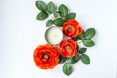 Flowers and leaves. Orange flowers with candle and leaves on white background stock images