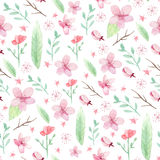 Flowers and leaves pattern Stock Photo