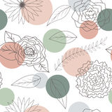 Flowers and leaves seamless pattern. Abstract flowers and leaves seamless pattern background. Abstract Elegance colorful Seamless pattern with floral background Stock Image