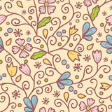 Flowers and leaves seamless pattern background Royalty Free Stock Photo