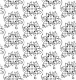 Flowers with leaves. Seamless pattern. Line drawing. For coloring vector illustration
