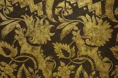 Flowers and Leaves style - antique gold textured stripes backgro Stock Photos