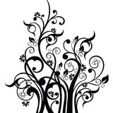 Flowers, leaves and swirls design element silhouette in black. Royalty Free Stock Photos