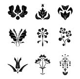 Flowers and leaves with veins. Collection of silhouettes of ornamental flowers and leaves with veins Stock Photos
