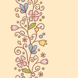 Flowers and leaves vertical seamless pattern Royalty Free Stock Images