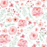 Flowers and leaves pattern royalty free stock photos