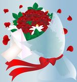 Flowers and letter. On a blue background in a red flowers, petals in a heart-shaped, envelope and letter Stock Photo