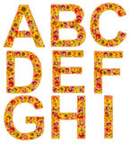 Flowers letters A-I Royalty Free Stock Images