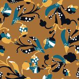 Flowers with light blue and dark blue textures on a light brown background. Seamless pattern vector vector illustration