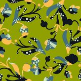 Flowers with light blue and dark blue textures on a light green background. Seamless pattern vector vector illustration