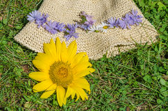 Flowers on light yellow paper hat Royalty Free Stock Photo