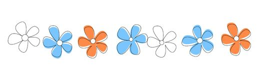 Flowers Line / divider. Cute and colorful flowers line isolated on white background divider Royalty Free Stock Photos