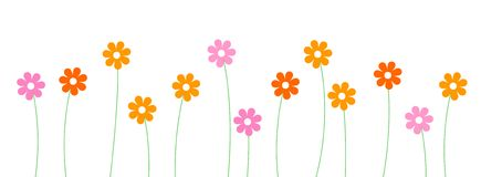 Flowers Line / divider. Cute and colorful flowers line isolated on white background divider Stock Photo