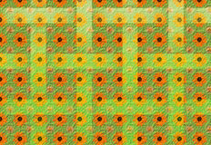 Flowers and lines. 3D pattern of yellow and orange flowers,  on a leafy weaving green textured background, excellent for fabric design Stock Photo
