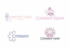Flowers logo pack. A pack of four logos with smiling flowers. Perfect for flower retail businesses Stock Images