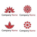 Flowers logos - red Royalty Free Stock Images