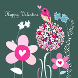 Flowers and love bird Stock Photos