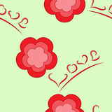 Flowers-and-love seamless texture Stock Images