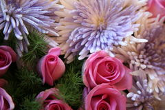 Flowers lovers and valentine. Picture of roses in a set up for love and valentine pink, white and green Royalty Free Stock Photo