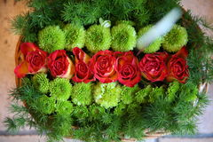 Flowers lovers and valentine. Picture of close up red and green roses and flowers Royalty Free Stock Images