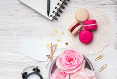 Flowers, macarons and other cute stuff Stock Image