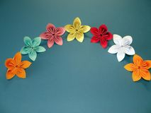 Colorful origami flowers Stock Photo