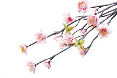 Flowers made from fabric. Pink Cherry blossom, sakura flowers isolated on white background, fake Flowers made from fabric royalty free stock photography