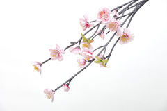Flowers made from fabric. Pink Cherry blossom, sakura flowers isolated on white background, fake Flowers made from fabric royalty free stock photo