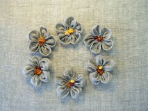 Flowers made from linen fabric Stock Photos